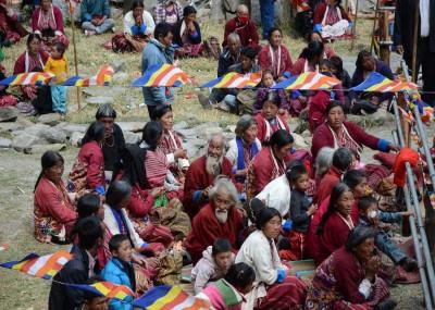 People Attending Gorsam Kora at Zimithang