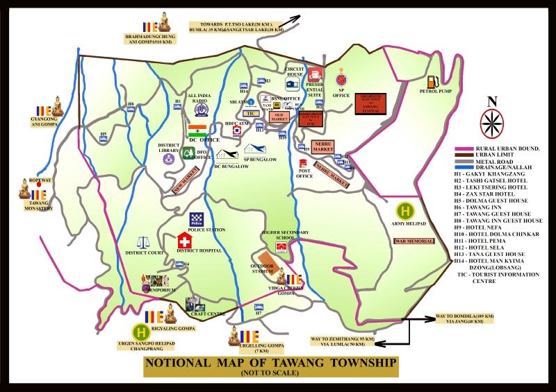 Township map of Tawang