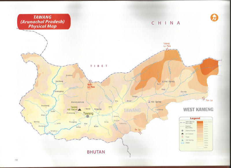 Physical map of Tawang